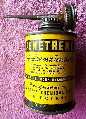 Vintage Penetrene Oil Tin With Pourer All Working Still With Some Content
