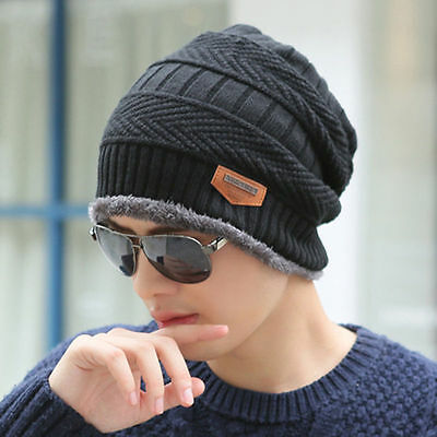 Mens Womens Winter Warm Fleece Knitted Crochet Slouch Ski Cap Beanie Stretch Hat