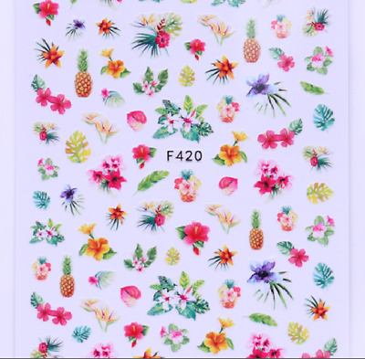2 Sheets 3D Nail Stickers Flower Fruit Pattern Nail Art Transfer Decals Tips DIY