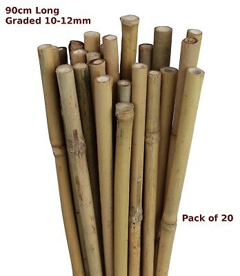 90cm Natural Bamboo Canes Garden Stake Flower Spike 10-12mm Pack of 20
