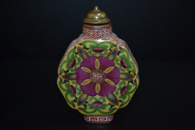 Antique Porcelain chinese old handwork paint flower gold rare Snuff Bottle