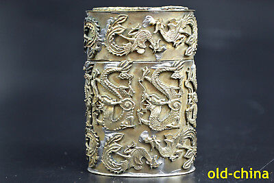 Chinese Collectible Handwork Old tibet Silver Carve Dragon flat toothtpick Box