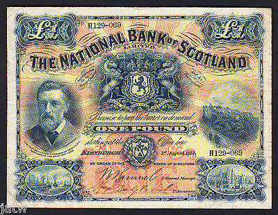SCOTLAND P-248a. 1914 National Bank - One Pound..  Fine