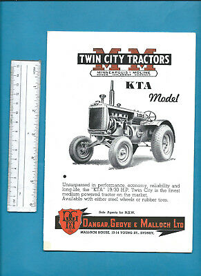 MINNEAPOLIS-MOLINE TWIN CITY KTA TRACTORFOLD-OUT SALES BROCHURE 70 X 32cm