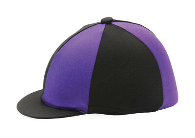 Black & Purple Riding Hat Silk Cover For Jockey Skull Caps One Size