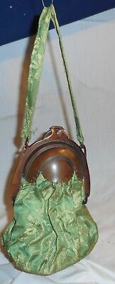Antique  Faux  Tortoise Shell Frame Purse With Green Brocade Cloth