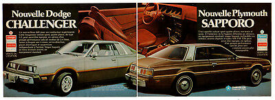 1978 DODGE Challenger PLYMOUTH Sapporo Vintage Print AD 2 page French Canada