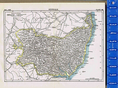 County of Suffolk in England - Map Print -- 1907