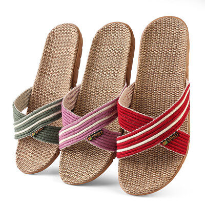 d0f9332cda5d Women Summer Striped Slide Flat Straw Sandals Flip Flops Anti-slip Shoe  Size 6-
