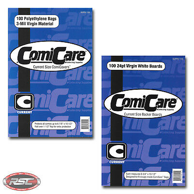 100 - ComiCare CURRENT 3-Mil Polyethylene Comic Bags & CURRENT Backer Boards!