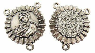 Silver Toned Base Madonna with Christ Child Rosary Centerpiece Medal, 1 Inch