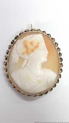 Large Finely Carved Antique Cameo 14k Solid Gold Pendant Brooch