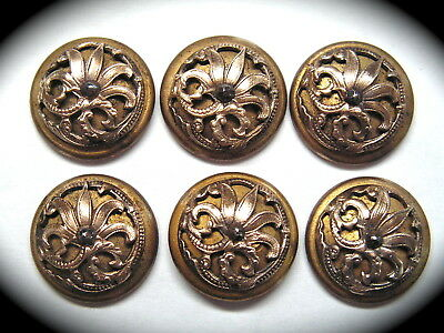 Antique Buttons ~ Set of 6 Brass Art Nouveau with Pretty Floral & Faceted Steel