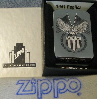 ZIPPO1941 REPLICA  lighter AMERICAN EAGLE New FLAG MINT 29093 Color Image NOS