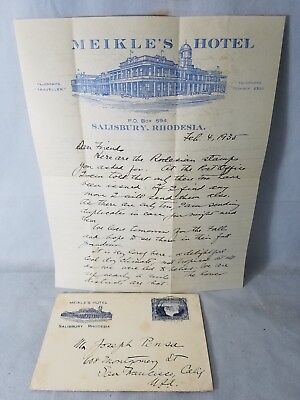 1935 Meikle's Hotel in Salisbury, Rhodesia Graphic Letterhead & Cover NO Reserve