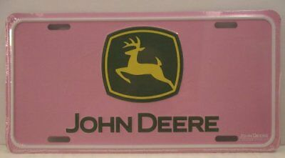 "New Pink John Deere Novelty License Plate Tag Green Yellow 12"" x 6"" Metal Ladies"