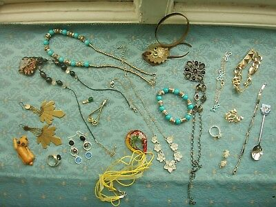 Old Vintage Collection Costume Jewellery Pins Earrings Bracelet Necklace Job Lot