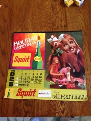 """1970 Squirt wall calendar December with thermometer 15"""" x 14"""""""