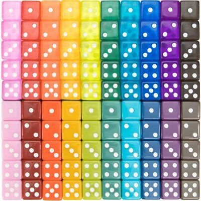 100-pack Translucent & Solid 6-sided Game Dice, 20 Vintage Colors, 16mm Dice