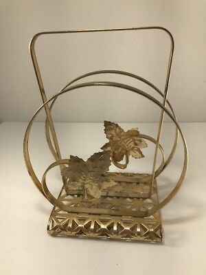 Vintage Collectible Gold Color Metal Leaf Shaped Letter or Napkin Holder A8