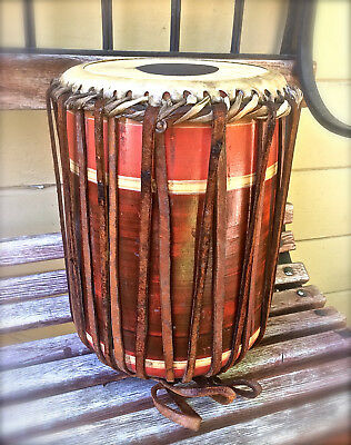 """Vntg Antiq AFRICAN WOODEN HAND DRUM TRIBAL UNIQUE RARE COLLECTIBLE 13"""" TALL L@@K"""