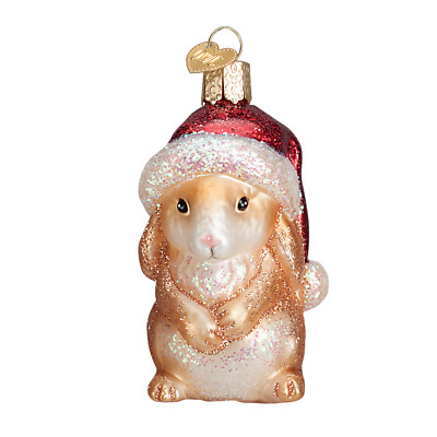 """Christmas Bunny"" (Sitting) (12428)X Old World Christmas Glass Ornament w/OWC Bx"