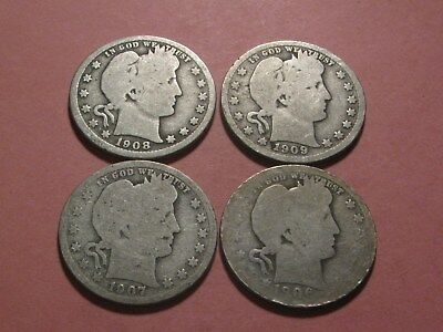 1906 1907 1908 & 1909 Barber Quarters Up For Auction (Ungraded - You Decide)