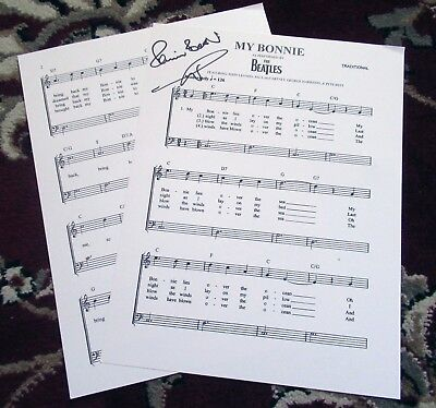 """Beatles GREAT LOOKING """" MY BONNIE ' SHEET MUSIC SIGNED BY DRUMMER PETE BEST!"""