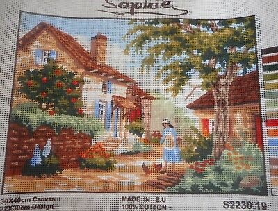 FARM (GIRL FEEDING CHICKENS) - Tapestry to Stitch (NEW) by SOPHIE