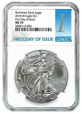 2018 W Burnished Silver Eagle NGC MS70 - White Core - First Day Issue