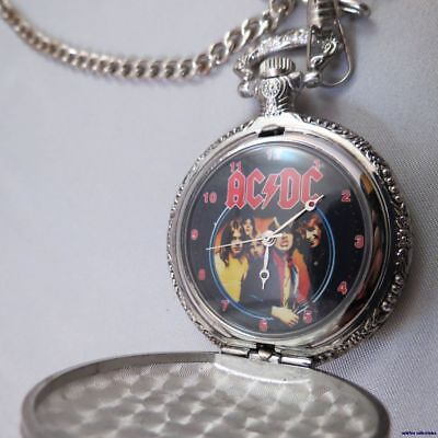 Acdc Ac/dc Band  Bon Scott Pocket Watch Pocketwatch Silver Angus Young Hell Pic