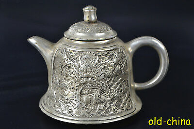 Chinese Culture Old Tibet Silver relief dragon Totem handwork Exquisite Teapot