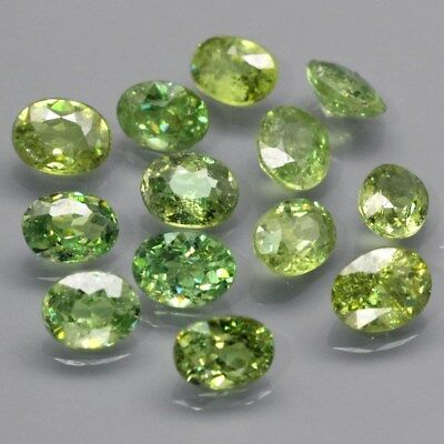 13pcs Lot 3.01ct t.w Oval Natural Yellowish Green Demantoid Garnet, Madagascar
