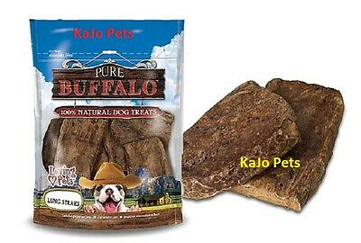 FRESH Loving Pets PURE BUFFALO LUNG FILETS STEAKS Dog Treats 8 oz Bag Chews