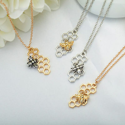 Womens Hollow Honey Bee Pendant Gold/Silver Plated Honeycomb Charm Necklace New