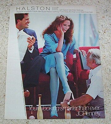 1984 print ad page -Halston Pantyhose SEXY Girl legs hosiery JCPenney vintage AD