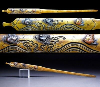 FINE Birds & Wave KOGAI 18-19thC Japanese Edo Antique for Koshirae f186