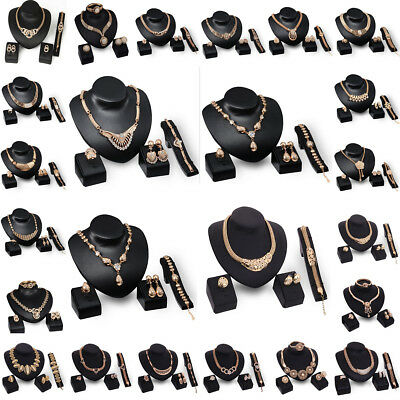 Retro Women Gold Plated Crystal Bridal Jewelry Sets Alloy Necklace Earring Set