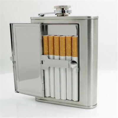 Hot 6oz Stainless Steel Wine Flagon Hip Flask Portable Flask With Cigarette Case