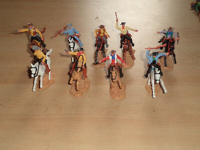 Timpo Wildwest Cowboys 9 Reiter mounted alle bewaffnet top mint