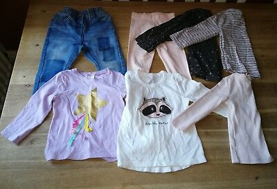 bundle of 7 baby girl NEXT clothes 12-18 months jeans tops leggings excellent co