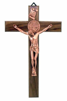 Nut Wood Saint Benedict Wall Crucifix with Rose Gold Tone Christ Corpus, 10 Inch