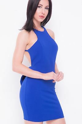 Elegant Classic Plain Mini Dress Bodycon Slim Open Back Bow Cross Strappy Night