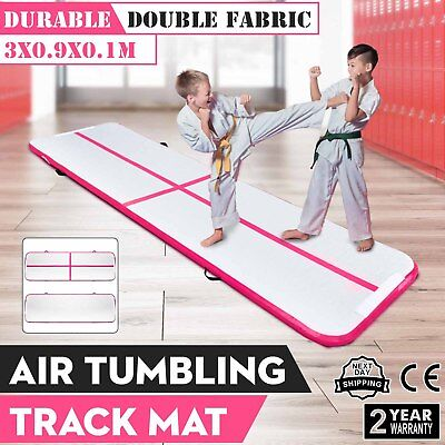 3x0.9x0.1m Air Track Floor Tumbling Inflatable Gym Mat Pro Pink 4in Thick