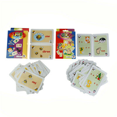 36Pcs Flash Cards Learn English Word Number Kid Literacy Game Educational Toy UK
