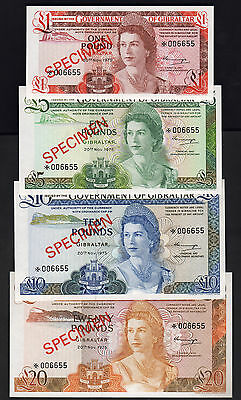 GIBRALTAR  P-CS 1. 1975 Set :1,5,10 & 20 Pounds.. Matching Serials..  SPECIMEN