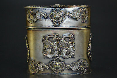 Chinese Collectible Handwork Old TIBET Silver Carve Dragon Phoenix TOOTHPICK Box