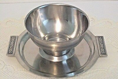 Vintage International Silver Stainless Steel Chip And Dip Bowl Decorator 8-8