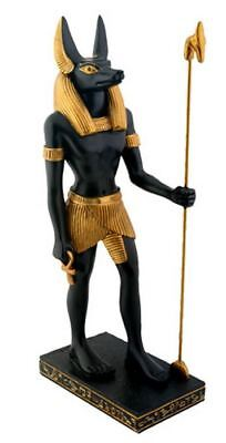Ancient Egyptian Standing Anubis God of the Afterlife with Spear Figurine