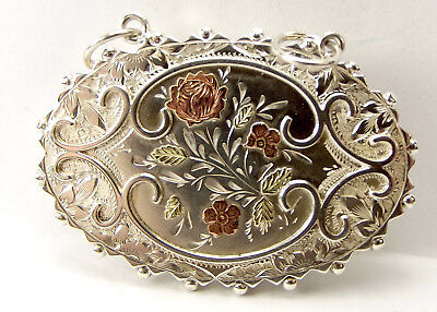 Victorian Silver & 9ct Gold BROOCH Converted LOCKET Pendant Removable Back OOAK